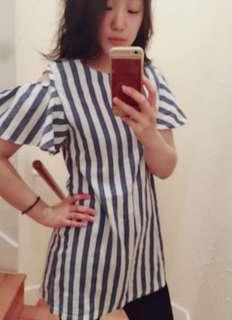正韓棉麻直條紋夏日洋裝