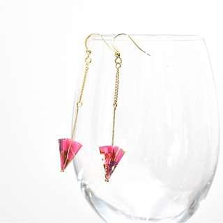 2-16 Beautiful Origami earrings umbrella pink traditional Japanese flower