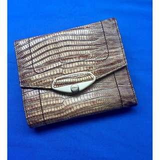 Genuine Authentic Furla Purse Wallet in Snake Skin Embossed Leather Beige Brown
