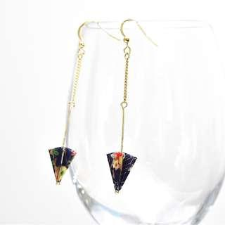 2-17 Beautiful Origami earrings umbrella dark blue traditional Japanese gold