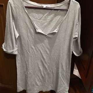 Gap gray 3/4 sleeved basic top