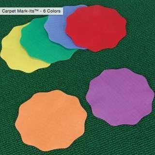 Carpet Mark-Its -6 Colors - Set of 24 for children play floor marker