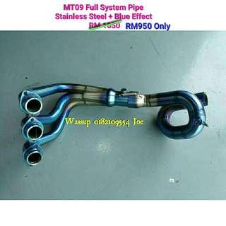 MT09 Stainless Steel + Blue Effect Full System Pipe HANYA Rm950 shja