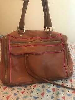 Rare Rebecca Minkoff tan MAM with pink piping