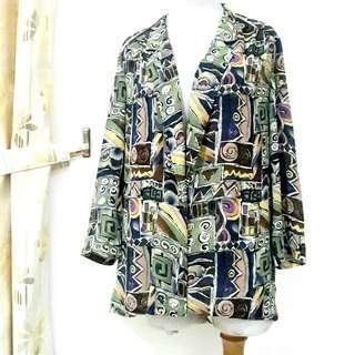 Big Size Outer Long Sleeves Import Pattern Motif Tribal Baju Luaran Wanita Jumbo Bigsize