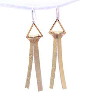 Leather dangling earring, gold colour, fashion earring, silver hook, triangle element, EA005