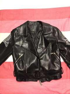 Skull Head Biker Chick Leatherette Jacket