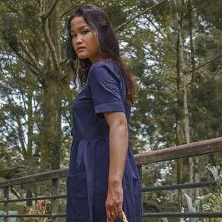 (PREORDER) Blue Sleeved Midi Dress