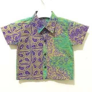 Kemeja Batik Bayi Hijau-Ungu