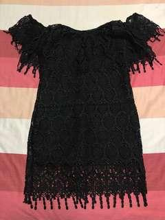 Black Off-shoulder Low Cut Figure-flattering Dress (Brand New)