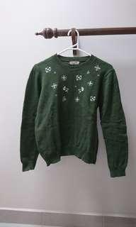 Japan SM2 green knit jumper sweater embroidered