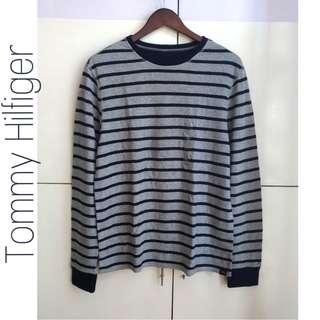 TOMMY HILFIGER Grey & Navy Blue Striped Reversible Sweater