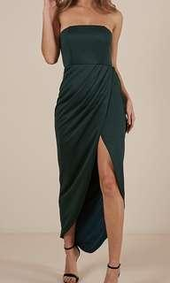 SHOWPO STRAPLESS EMERALD DRESS