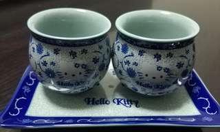 Sanrio Hello Kitty 青花瓷茶杯一對連底盤