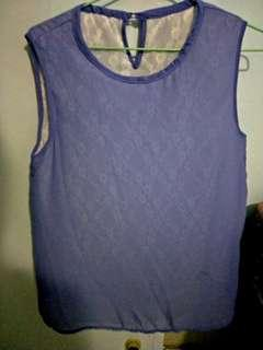 Periwinkle blue sleeveless top with rose lace lining