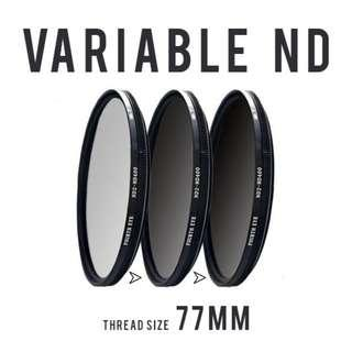 Variable ND filter 77mm (adjustable ND2 to ND400)