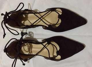 Parisian Lace Up Criss Cross Shoes