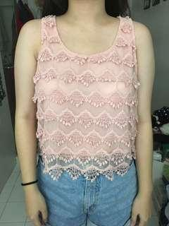 Pink Lace Crop Top