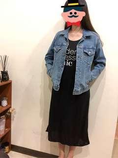 🚚 字母背心黑色長洋裝