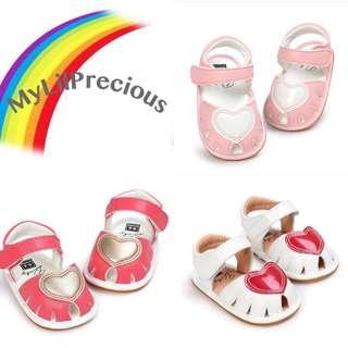 🚚 BN Baby Girl Cute Heart Perforated Sandals Watermelon Red/ Pink/ White avail! Anti Slip! 6-18mths! Ready stock!