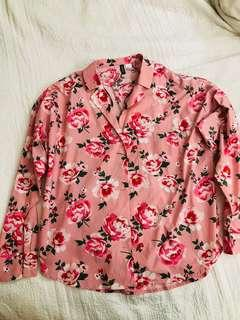 New No Tag H&M Pink Floral Collared Top