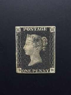 Unused penny black with faults