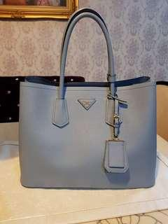 Astrale colour preloved Authentic Prada Saffiano Cuir Double Bag. Model IBG756
