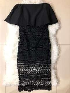 Black crochet off shoulder dress