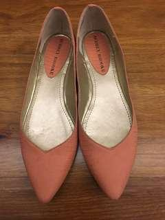 NEW salmon snakeskin stamped flats