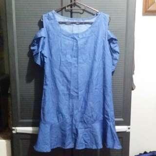 Denim Cold Shoulder Dress