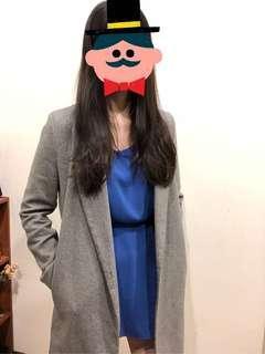 🚚 正韓 亮藍色顯白微傘狀洋裝 綁帶洋裝