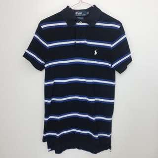 Polo Ralph Lauren Collar Black Blue White Stripes Shirt
