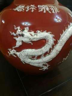 齊紅秞堆塑龍鳳天球瓶