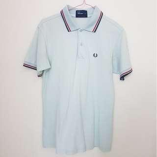 Fred Perry Light Blue Collar Stripes Shirt Top Pending
