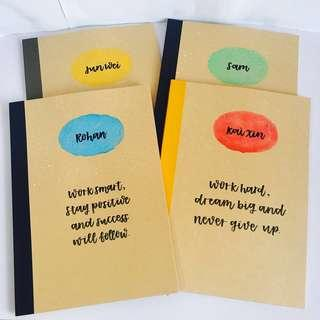 Customisable notebooks children's day class childrens' kids kid student students children gift gifts present presents cheap affordable calligraphy personalised customised boys girls birthday goodie bag teacher school corporate book books colleagues