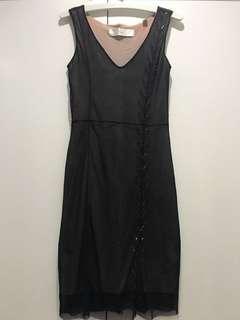 MAX STUDIO black sheer stretch dress