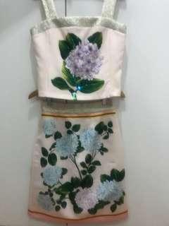 Top and skirt set w/ Hydrangea print