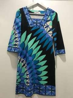 Blue and black printed dress