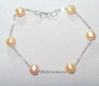Freshwater pearl silver chain bracelet 天然珍珠S925純銀手鏈