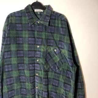 古著 復古 燈芯絨 格紋 襯衫