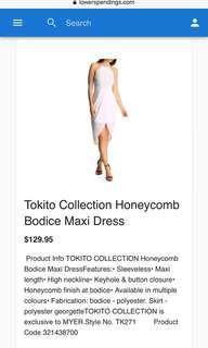 TOKITO collection white honeycomb bodice dress