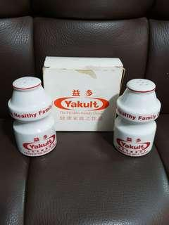 Vintage Yakult Bottle Shaped Porcelain Salt & Pepper Shakers