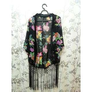 Kimono Floral Fringe