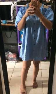 Dress biru sabrina