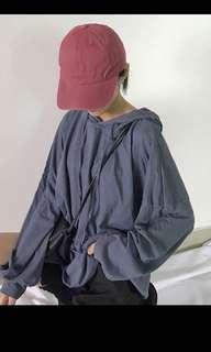 Plain Basic Blue Hoodie Top