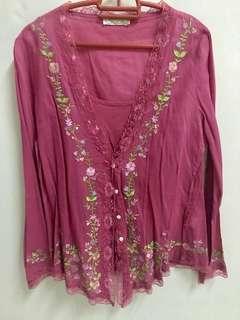 Kebaya Nyonya Top Blouse Lace Embroidery Somerset Bay