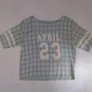 藍紫格子上衣T-shirt