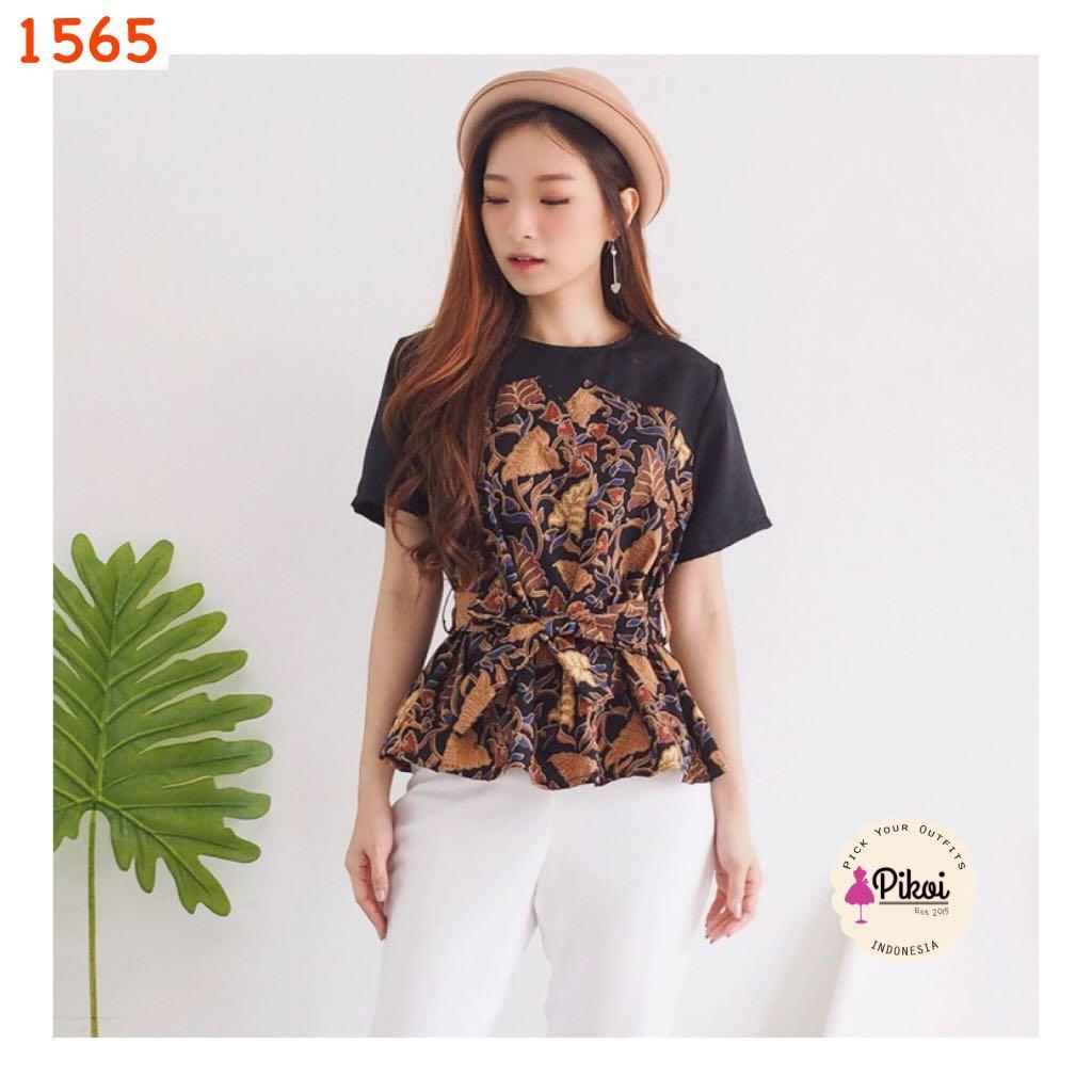Batik ikat wanita modern / seragam batik kantor / blouse batik kerja / 1565
