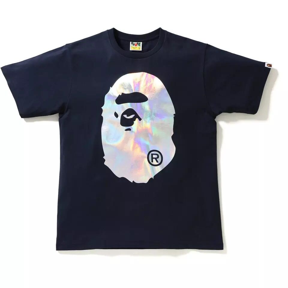 19fd3ed00 BNIB Bape A Bathing Ape Holographic T-Shirt Navy L, Men's Fashion ...