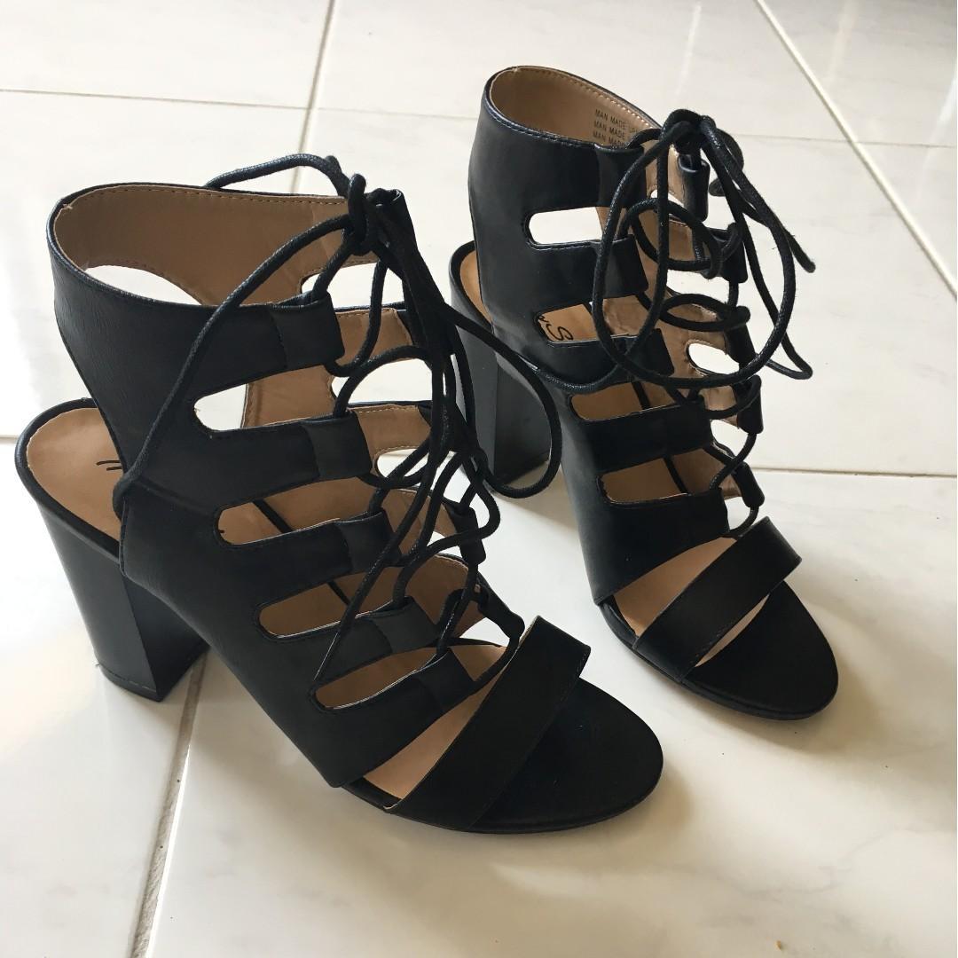 Brand New Size 7 Myer Miss Shop Black Lace Up Bootie Block Heels Sandals